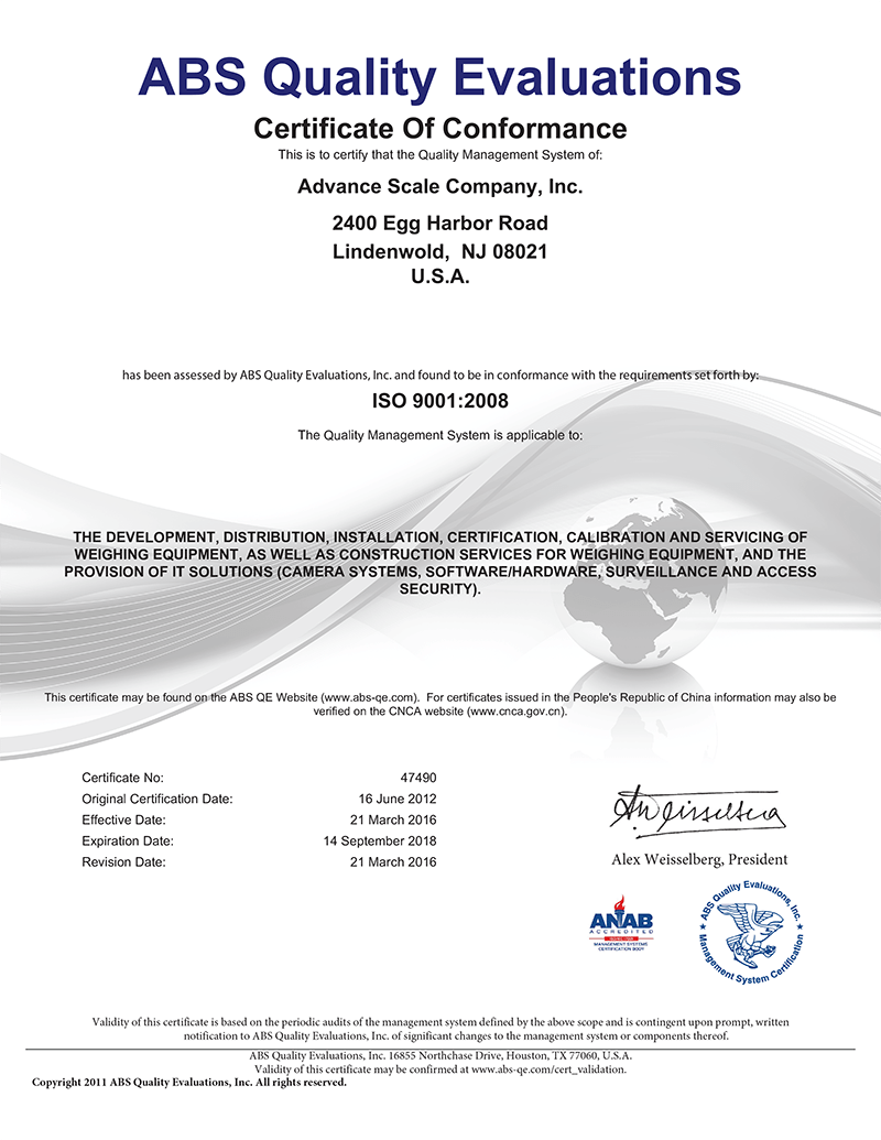 iso 9001 certificate Scale Equipment